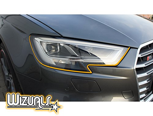 DEVIL STRIPES Eye TEUFEL koplamp ORIGINELE WIZUALS + MIRROR STRIPES SET, 6-delig SET 4x DEVILSTRIPES incl.2x GRATIS MIRROR STRIPES voor uw AYGO in ORANJE