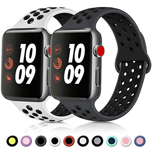 Vancle コンパチブル Apple Watch バンド 38mm 42mm 40mm 44mm シリコンバンド アップルウォッチバンド 柔らかスポーツ 交換ベルト Apple Watch Series 5/4/3/2/1に対応 (42mm/44mm-S/M, 2色セット 白/黒+暗灰/黒)