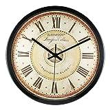 ALEENFOON Reloj de pared de cuarzo retro de 30 cm de 30 cm de concha de metal...