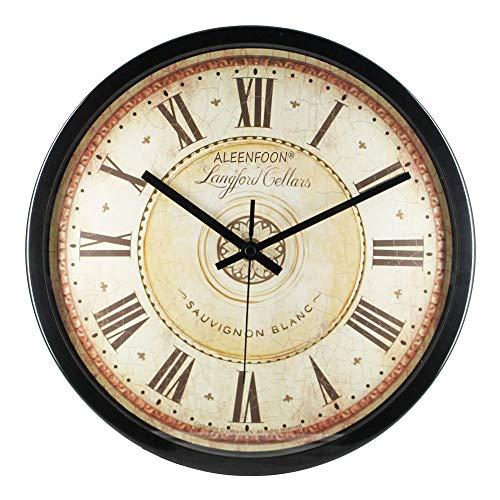 ALEENFOON 12 Pouces Horloges Murales Vintage Rétro Classique 30cm Silencieuse de Salon Cuisine Pendules Murales Horloge à Quartz Suspendue Horloge Murale en Métal