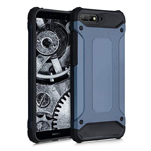 kwmobile Hülle kompatibel mit Huawei Y6 (2018) - Hybrid Handy Cover Handyhülle Case Schutzhülle Transformer Dunkelblau Schwarz