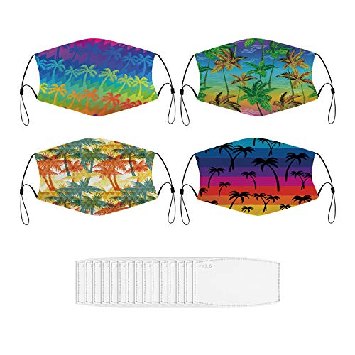 Mouth Dust Mask Tropical Rainbow Palm Trees Seamless Face Mask for Men & Women