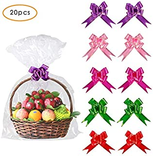 20 Pack Clear Basket Bags Pull Bow Set 10 Pack Packaging Bags Cello Cellophane Wrap and 10 Pack Ribbon Bows … (30 * 44inches)