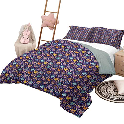DayDayFun Quilt Set for Kids Owls Luxe Bedding 3 Piece Oversized Quilted Bedspread Coverlet Set Leafy Branches and Little Stars Sweet Comic Birds Colorful Rich Romantic Ornaments Full Size Multicolor