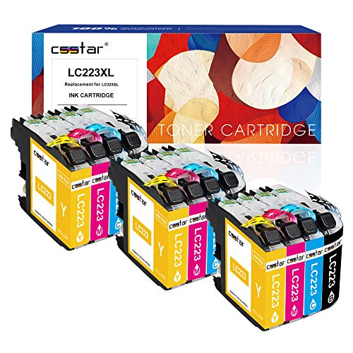 CSSTAR 12er-Pack Kompatibel Druckerpatronen Ersatz für Brother LC223 für DCP-J4120DW DCP-J562DW MFC-J5320DW MFC-J480DW MFC-J680DW MFC-J4620DW MFC-J5620DW MFC-J5625DW Drucker, Schwarz Cyan Magenta Gelb