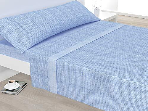 Liniva Home Juego de sábanas de microlina Jacquard de 240gr de 3 Piezas Nayra (Azul, Cama 150)