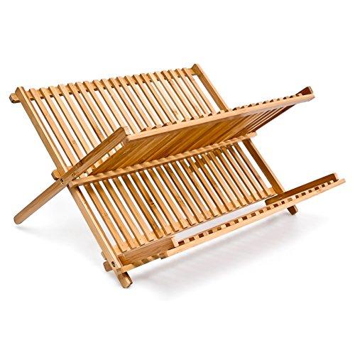 Relaxdays 10014073 platos escurridor con 2 niveles de bambú plegables