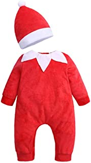 lcky Baby Santa Claus Red Jumpsuit Cute Set Christmas Hat Climbing Suit