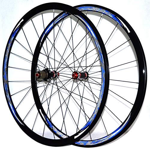 Zatnec Fibra Carbon 700C Bicicleta Carretera Juego Ruedas Freno C/V Cubo Rueda Trasera Delantera Bici 30mm Llanta Aleación Doble Pared for 7 8 9 10 11 Volante (Color : Black Hub Blue Logo)