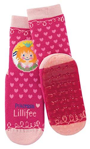 Prinzessin Lillifee Stoppersocken Kinder Rutschsocken pink - Mädchenstrümpfe mit Herzen, Motiv & Anti-Rutsch-Sohle - ABS Socken, Größe 17-34, K/Sox:17-18