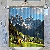 Trelemek Cortina de ducha de los Alpes italianos, 183 x 183 cm, impermeable, con 12 ganchos de plástico, lavable