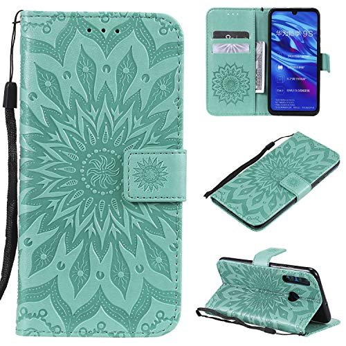 KKEIKO Hülle für Huawei P Smart Plus 2019 / Huawei Honor 10I, PU Leder Brieftasche Schutzhülle Klapphülle, Sun Blumen Design Stoßfest Handyhülle für Huawei P Smart Plus 2019 - Grün