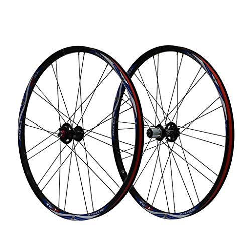 LSRRYD Ciclismo Ruedas Juego Ruedas Bicicleta 26' MTB Llanta Aleación Doble Pared Neumáticos 1.5-2.1' Freno Disco 7-11 Velocidad Buje Rodamientos Sellados Liberación Rápida (Color : Black Blue)