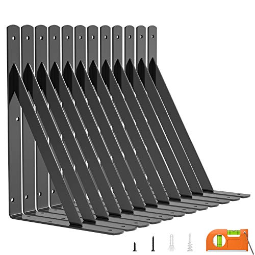 LuckIn 12-Pack Shelf Bracket 11 Inch for Floating Shelf, Heavy Duty Wall Mount L Bracket, 90 Degree Triangle Corner Bracket with Gusset-Black