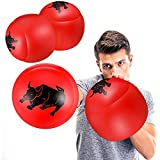 2 Pairs Inflatable Boxing Pillows, Inflatable Boxing Gloves (Red and Yellow)