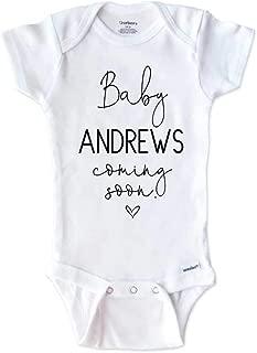 Custom Onesie - Baby Name Coming Soon Heart Surprise Pregnancy Reveal Grandparents