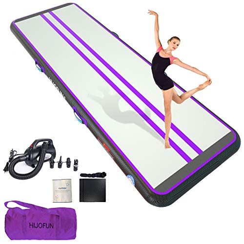 HIJOFUN Premium Air Tumble Track 10ftx3.3ftx4in Gymnastics Tumbling Training Mat Inflatable Tumble Track with 650W Electric Air Pump for Home Kids,Gym,Yoga,Training,Cheerleading,Outdoor,Beach,Park Purple Black