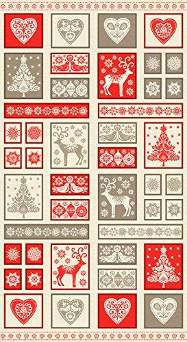 Scandinavische decoratieve kerstvakantie quilten stof paneel Makower 14831