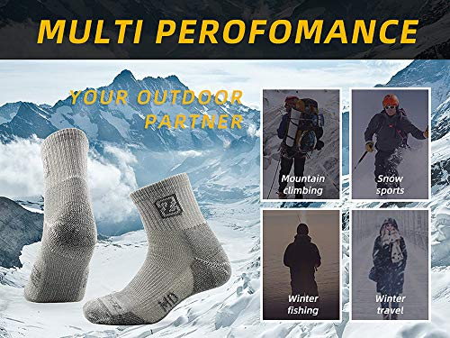 ZEALWOOD 3 Pair Mens Thick Merino Wool Thermal Hiking Socks with Terry Cushion Outdoor Sport Quarter Socks, Grey, UK 8-10.5