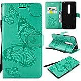 Kihying Funda para Motorola Moto X Style Funda Cáscara Case (KT/3D Mariposa Flor) A Prueba de choques Que Cae PU Cuero Caja del teléfono móvil (Verde)