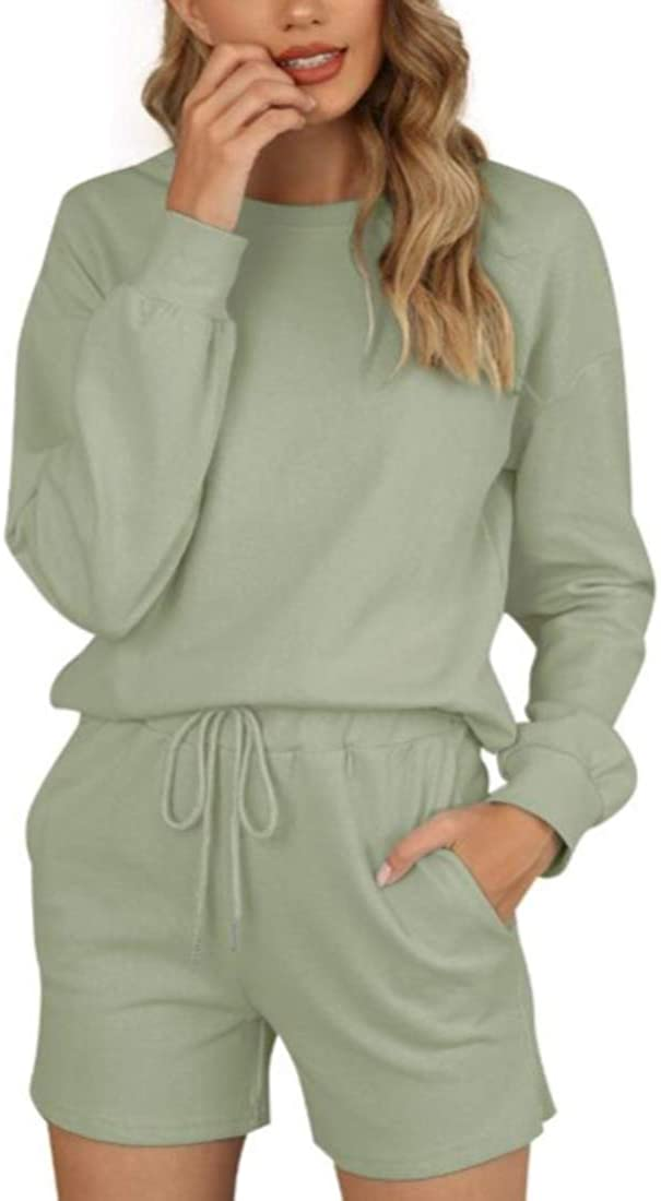 March9 Women's Casual Long Sleeve Solid Color Pullover Pajamas Set Pjs Sets Loungewear Sleepwear Shorts Sets