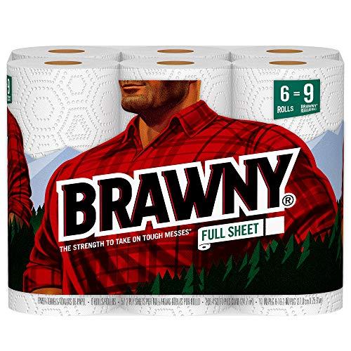 Brawny Paper Towels, 6 Large Rolls = 9 Regular Rolls, Full Sheets