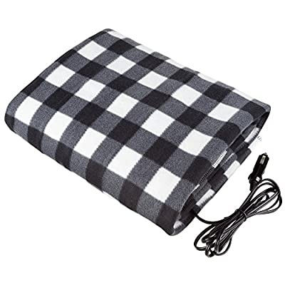 Electric Car Blanket- Heated 12 Volt Fleece Travel Throw for Car and RV-Great for Cold Weather