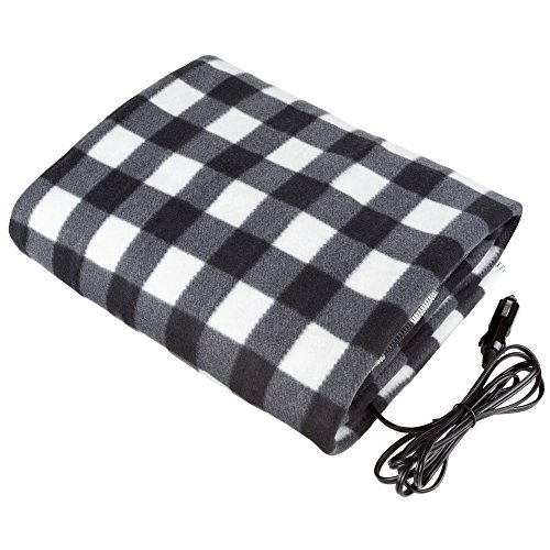 Stalwart - Electric Car Blanket- Heated 12 Volt Fleece Travel Throw for Car and RV-Great for Cold Weather, Tailgating, and Emergency Kits by Stalwart-BLACK/WHITE