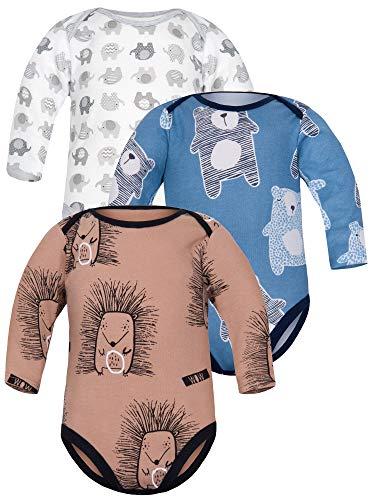 Sibinulo Niño Niña Body Bebé Manga Larga Pack de 3 Elefantes Grises Koala Azul Oscuro Erizos...