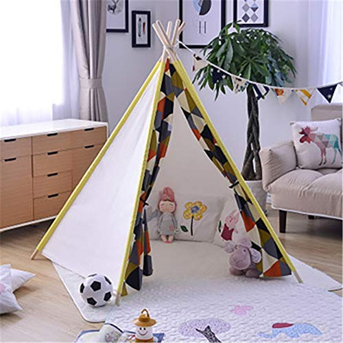 ZHJC Play Tent Folding Cotton Canvas Conical Tent Shooting Props Play Folding Game Tent Room Decoration Children Photography Tent Easy to Assemble (Color : C3, Size : As shown)