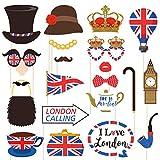 Amosfun 20 stücke Britische Flagge Photo Booth Requisiten Britische London Thema Ausschnitte National Day Party Favors für British National Day Festival Party Dekoration