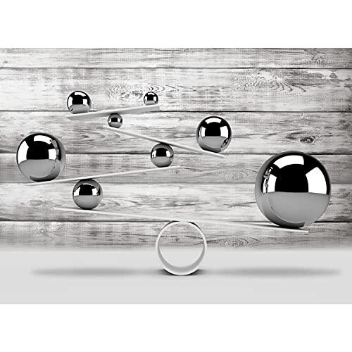Fototapete 3D Kugeln Abstrakt Holz 352 x 250 cm Vlies Tapeten Wandtapete XXL Moderne Wanddeko Wohnzimmer Schlafzimmer Büro Flur Grau 9153011a