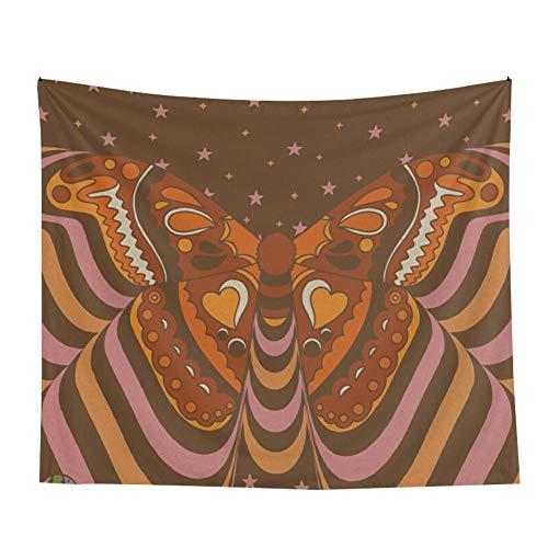 SHININGCN Tapiz Pared Decoración Tapiz Vintage Colgante Mariposa Decoración De La Pared Tela Flor Tapiz Colgante Mujer Tapiz Retro Que Cubre Macrame Dormitorio Decoracion