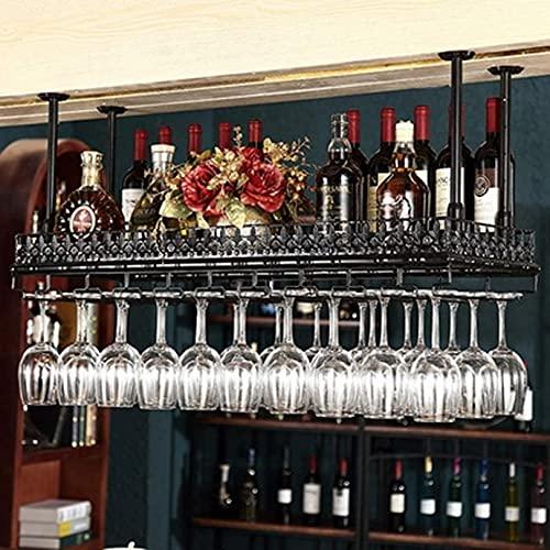 MQJ Bar Rack Rack Restaurante Montado en la Pared Botella de Vino Taller, Colgante Hierro Negro Titular de Vino Rojo Altura Ajustable Tenedor de Taller Industrial Grande,60X35Cm