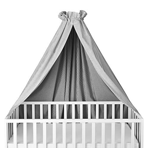 Sugarapple Himmel für Kinderbetten, Babybetten seitlich, quer verwendbar, weiß mit grauen Streifen, 100% Öko-Tex Baumwolle, 280x170 (BxH) cm
