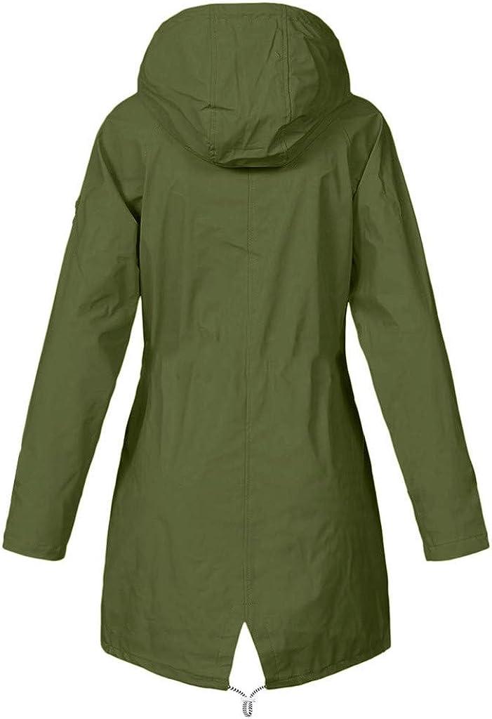 AmyGline Damen Winter Jacke Lange Parka Mantel Regenjacke Wasserdicht Winddicht Plus Plüsch Warme Fleecejacke Outdoor Softshelljacke Mit Kapuze Grün-a