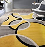 Rugshop Contemporary Abstract Circles Area Rug 7' 10' x 10'2' Yellow