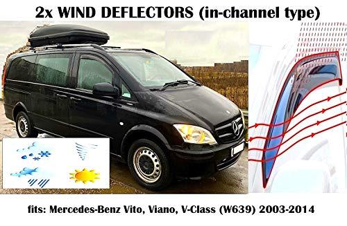 Mrp Windabweiser für Mercedes Benz Vito Viano V-Klasse W639 Fensterabweiser, für 2003 2004 2005 2006 2007 2008 2009 2010 2011 2012 2013 2014 Acrylglas Seitenblenden