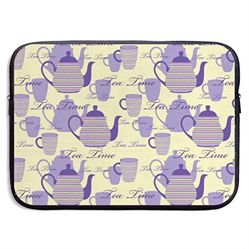 Ahdyr Gestreifte Teekannen Tassen Silhouetten Klassische, wasserfeste Laptoptasche, Reißverschlusstabletttasche, 15-Zoll-Laptoptasche