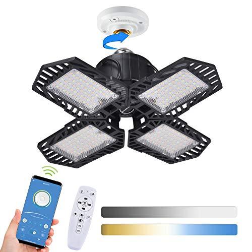Deformación Lámpara de Garaje,Lacyie 100W 10000LM 6500K 3 Modos de Atenuación Luces de Garaje LED E27/E26 con 4 Paneles Ajustables,Remoto,APP Bluetooth Controlar Luz de Techo de Seguridad para