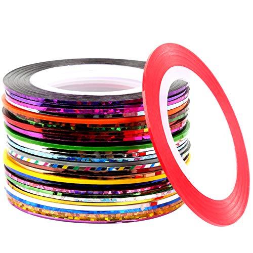 32 Rollen Nail Art Striping Tape, FANDAMEI Stripes Tape Zierstreifen in verschiedenen Farben Nageldesign Nagelkunst Sticker DIY