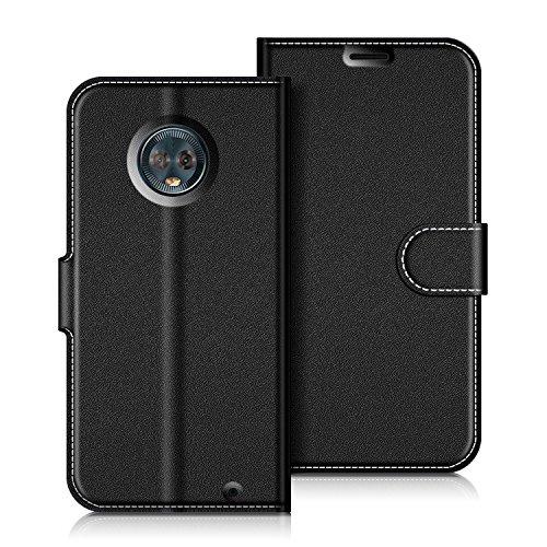 Coodio Motorola Moto G6 Plus Hülle Leder Lederhülle Ledertasche Wallet Handyhülle Tasche Schutzhülle mit Magnetverschluss/Kartenfächer für Motorola Moto G6 Plus, Schwarz