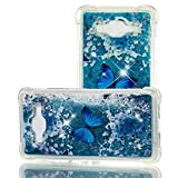 MRSTERUS Case for Galaxy J2 Prime,Galaxy J2 Prime Glitter Case, Flowing Liquid Transparent Shockproof Cover,Quicksand Series TPU Case for Galaxy J2 Prime/Galaxy Grand Prime G530 Butterfly YBL