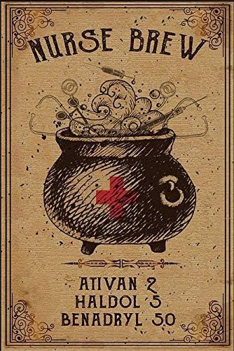 Nurse Brew Ativan 2 Haldol 5 Benadryl 50 Nurse Witch Poster Vintage Wall Art Poster Paper no product image