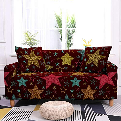 Stretch Covers For Sofa Couch Star Printed Elastic Spandex 1/2/3/4 Seater Sofa Cover Armchair Slipcovers Furniture Protector for Children Pet,1,seat 90,140cm