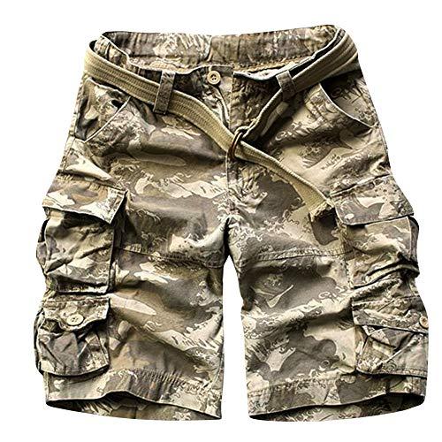 Shaoyao Bermudas Cargo Shorts Hombres Pantalones Cortos Leisure Militar Camuflaje Ola S