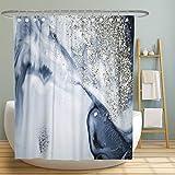 MuaToo Duschvorhang, abstrakter & glänzender Duschvorhang – Polyester-Stoff, maschinenwaschbar, moderne Badezimmerdekoration, 183 x 183 cm, weiß/blau