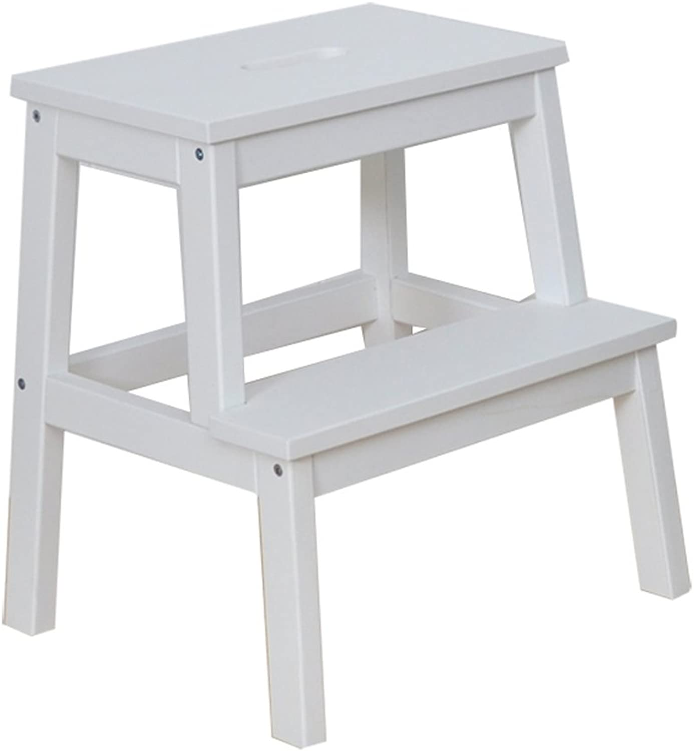 WFFXLL Ladder Step Stool Square Mazar Easy to Assemble Dual-use Solid Wood Home shoes Bench Stool, 2 colors Optional Step Stool (color   White)