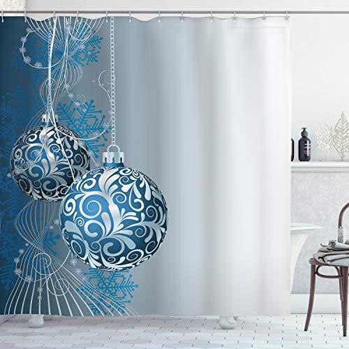 Ambesonne 6970 Duschvorhang, Weihnachtsdekoration, digitales Badezimmer, Blau/Silbergrau