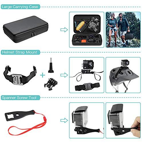 SmilePowo 51-in-1 Sport Camera Accessories Kit for GoPro Hero 8 Max 7 6 5 4 3 3+ 2 1 Black GoPro 2018 Session Fusion Silver White Insta360 DJI AKASO APEMAN YI Campark SJCAM XIAOMI (Floating Grip)